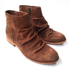 KORK EASE Giba brown ruched suede ankle booties